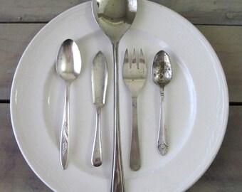 Mismatched Silver Plate Serving Pieces Set of Five Pieces