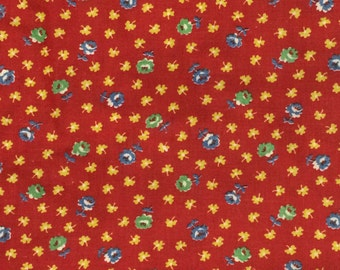 Cotton Fabric / Red Floral Fabric / Red Calico Fabric / Cotton Calico / Vintage Cotton Fabric / Vintage Fabric / Quilting Fabric / BTY