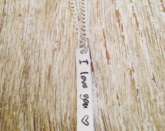 I love you hand stamped pendant necklace / simple jewelry / anniversary necklace / wife / girlfriend jewelry