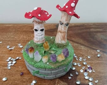 Old man toadstool sculpture,sculpture,crystals,amethyst, citrine,abundance,protection,spiritual,different,fairytale,mythical,magic
