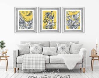 Set of 3 Mustard Yellow Decor, Yellow Wall Art, Yellow Grey Wall Art, Ochre Wall Art, Mustard Yellow Art, Mustard Wall Art, Ochre and Grey.