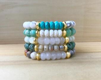 Spring Boho Strechy Bracelets, Gemstone Stretch Bracelet, Layering Bracelet, Stacking Bracelet