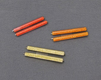 80's vintage bobby pins, red/orange/gold tinsel glitter cellulose acetate, SOLD AS PAIRS