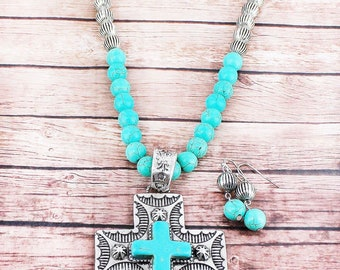 Western turquoise cross necklace set