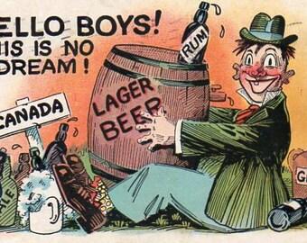 VINTAGE POSTCARD, boire bande dessinée, recueillis par junqueTrunque
