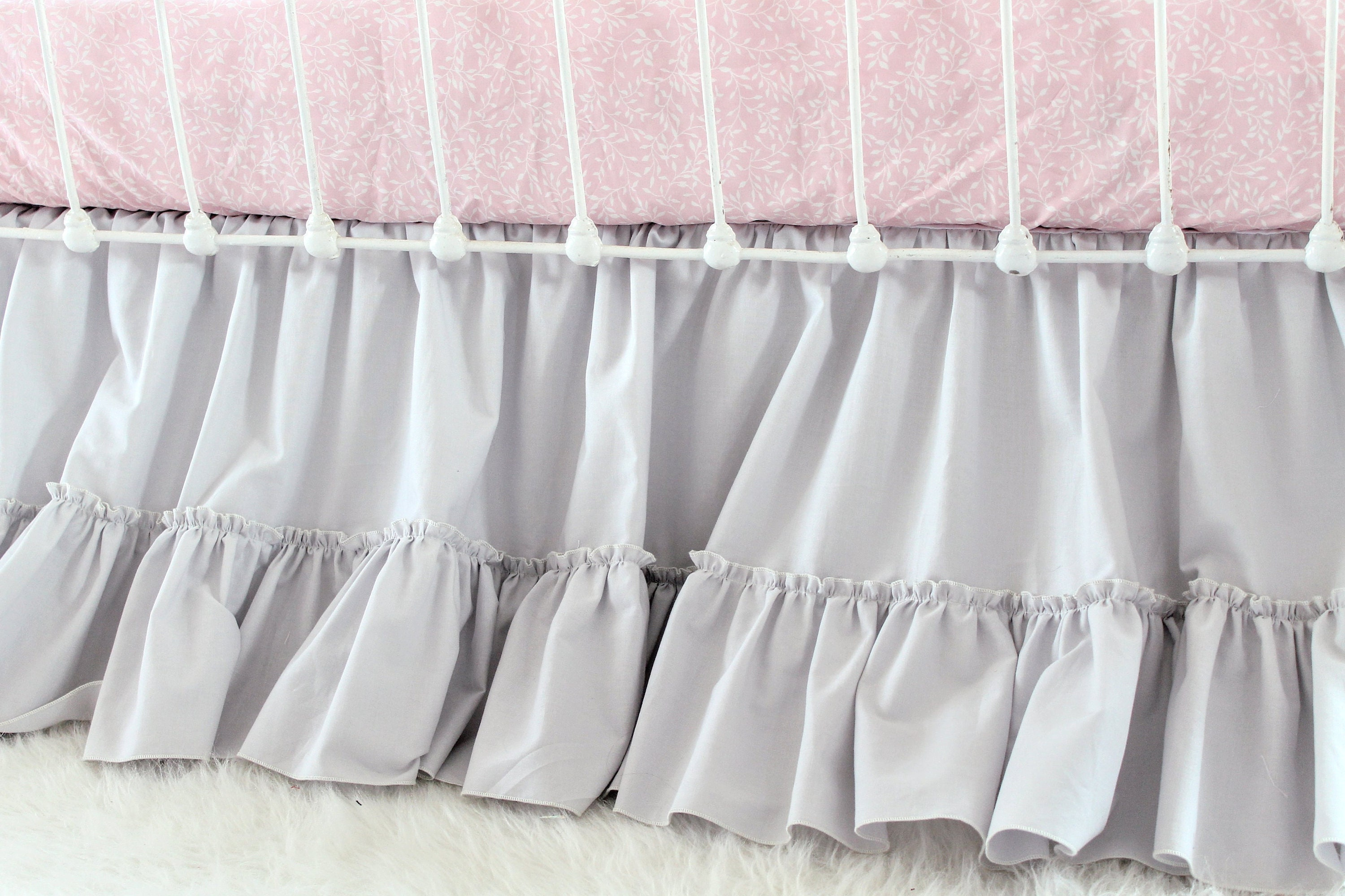 for tier ruffle cribs skirt chevron and crib ruffles large carousel inch pink skirts gold pale dust bedding designs length three