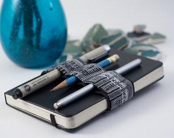 Mini Bandolier // black and white city // (a better pencil case, journal pen holder, book strap, pen loop, pencil roll, pen bandolier)