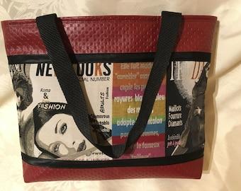 "Red imitation leather theme ""fashion magazine"" tote bag"