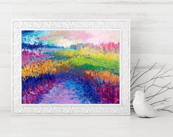 Abstract Landscape Print - Abstract Printable - Abstract Art Print - Instant Download Art Print - Rainbow Art - Rainbow Landscape - 9x12