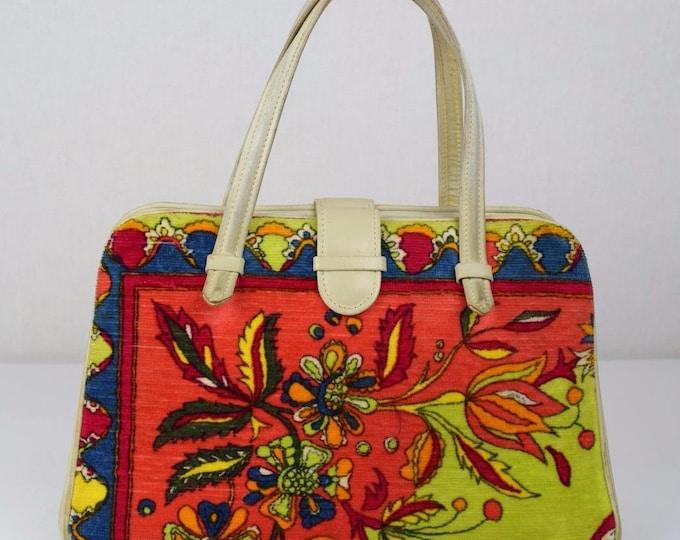 Vintage 1960's 70's EMILIO PUCCI PsYcHeDeLiC VeLveT NeOn Couture MoD HAnDBaG PuRSe