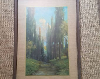 R Atkinson Fox Sunlit Forest Print Tall Trees Art Deco Lithograph Art Nouveau 1930s Signed Matted Framed