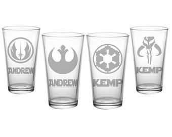 Star Wars Pint Set - 4 Personalized Pint Glasses - Jedi Academy Rebel Alliance Galactic Republic Mandalorian - Etched Star Wars Glasses
