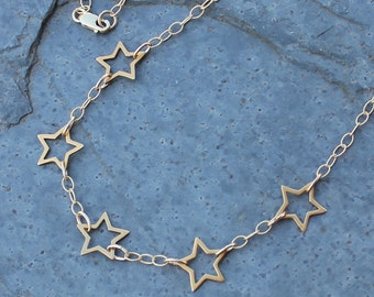 5 Star Gold Necklace - 24k gold plated sterling silver stars & 14k gold filled delicate textured chain- Five Stars - Free USA shipping