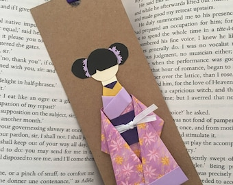 Origami Geisha Kimono Doll Bookmark