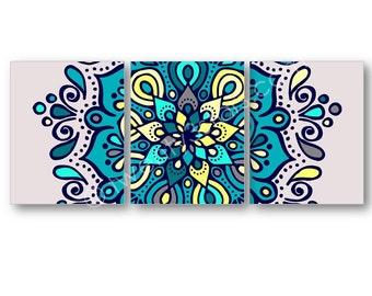 Mandala Art Prints, Mandala Canvas Art, Henna Art, Yoga Wall Art, Girl's Room Bright Floral Art, Mandala Canvas, Mandala Poster, Yoga Canvas