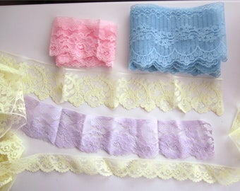 Vintage Lot of Lace Trim, Edging in Pastels-Blue, Yellow Pink, Lavender--11 Yds. Plus