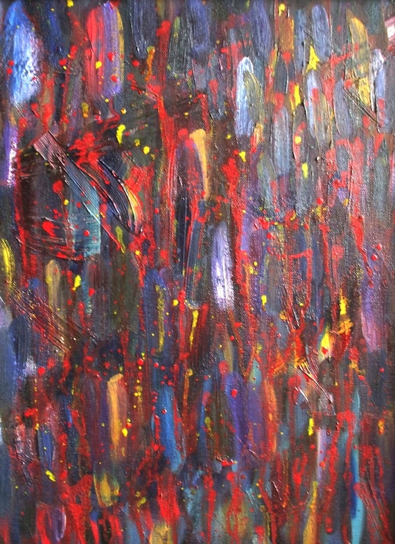 Abstract Dashes--original oil on canvas, signed and framed