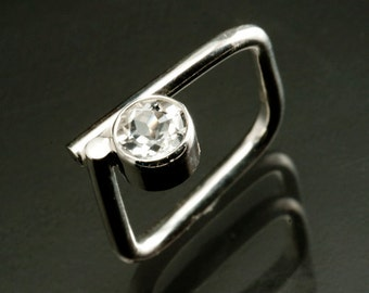 Diamond like Square Engagement Ring with White Topaz