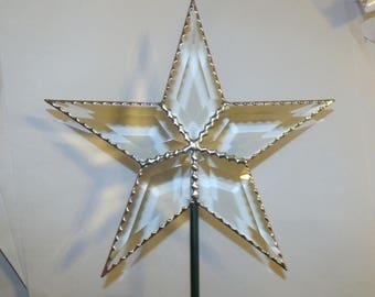 Verre biseauté étoile sapin Topper, classique Simple 5 Point Star, bords de 10,5 pouces festonné