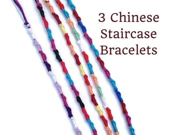 3 String Bracelets, Chinese Staircase Bracelets, Friendship Bracelets, Knotted Bracelets, Thread Bracelet, String Friendship Bracelets, Bulk