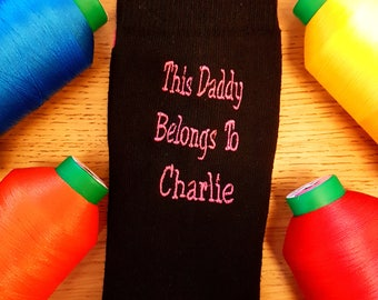 Personalsied mens socks, socks for daddy, socks for groom, wedding socks, logo socks, embroidered socks, Christmas, say it with socks.