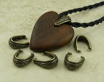 5 TierraCast Spiral Pinch Icepick Bails > Zen Doodle Swirl Celtic - Brass Ox Plated Lead Free Pewter - I ship internationally - 5784