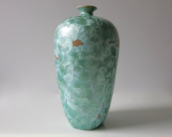 VINTAGE VALLAURIS VASE - Green crystalline ceramic vase signed by artist from the 1990's
