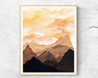 Watercolor Mountains Art Prints, Contemporary Art, Mountains Art, Modern Art, Sunset Wall Art, Sunset Mountains, Abstract  Art, Home Decor