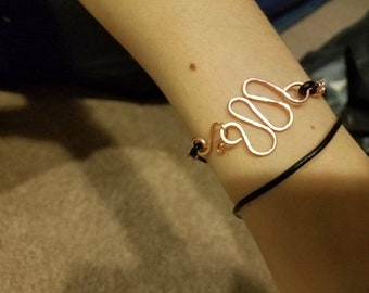 Charm with Leather Cord Wrap Bracelet
