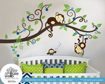 Boy Jungle Monkey Wall Decal with one baby owl for nursery decor. Two Monkeys Tree branch wall decal -d559a  sc 1 st  Etsy & Monkey tree | Etsy