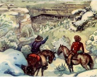 Mesa Verde National Park Colorado Cliff Palace Vintage Western Cowboy Postcard SIGNED Paul Coze (unused)