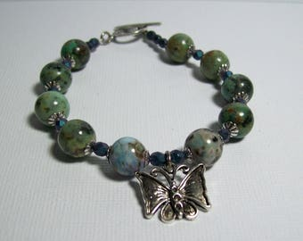 African Turquoise Bracelet. Butterfly Bracelet. Green Stone Bracelet. Chunky Stone Bracelet. Everyday. Wear with Jeans.