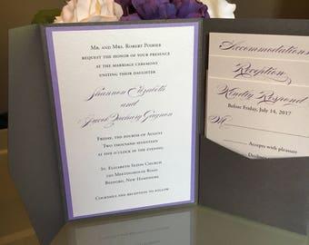 Charcoal Silver and Purple Pocket Folder Wedding Invitation