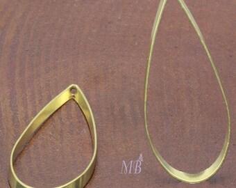 10 pendants drop Golden brass 41x17mm