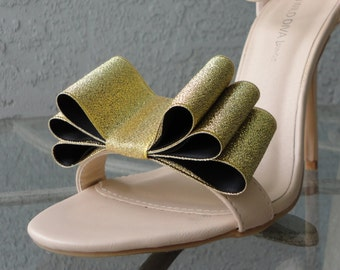 Christmas New Year Colors Two Tone Satin Ribbon Bow Shoe Clips Gold And Black Set Of Two, More Colors Available