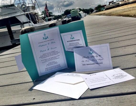 Nautical Wedding Invitation - Aqua Beach Wedding Invitation - Anchor Wedding Invitation