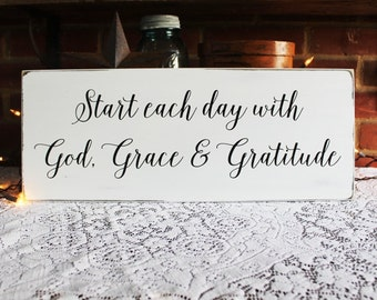 Start Each Day Inspirational Wood Sign God Grace and Gratitude Wall Art Signs with Sayings
