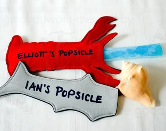 Shark or Lobster personalized Popsicle Holder to keep those little hands warm!  Summer, Cold Treat, No More Cold Hands.