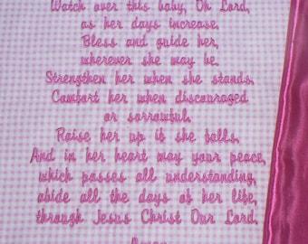 Embroidered Baby Blanket ~  Blessings Prayer for GIRLS~ Customized Baby Keepsake, personalized Christian gift, christening blanket