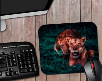 Lions Mousepad - 7-3/4 x 9-1/4 or 7-1/2 x 8 Inch Mouse Pad Lion Lioness Animal Print - Free Shipping
