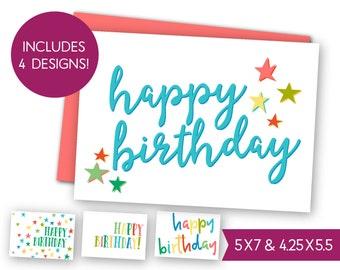 Happy Birthday Printable Card Bundle - Instant Download B-day Greeting Card, Kids Birthday E-Card, Digital DIY Gift Tag Card to Print S1326