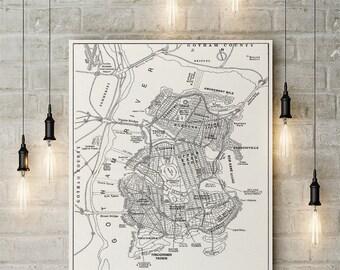 Gotham City Inspired, Home of the Dark Knight, City Map, Fandom,  Custom Made to Order Raised Canvas Art Piece