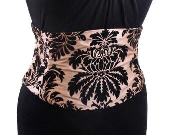 Corset Belt / Gold and Black Flocked Velvet Waist Cincher / Obi Belt / Gold Wedding Sash / Plus Size Corset / Party Dress Belt / Bridesmaid