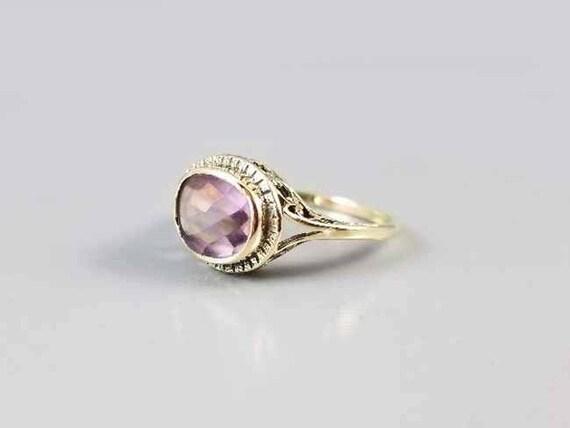 Antique Art Deco 14k gold filigree Rose De France back faceted amethyst ring, 1920s, size 8-3/4