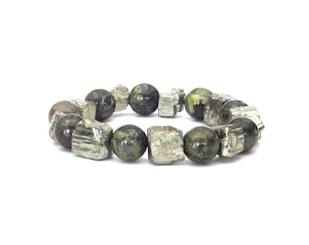 Rustic Glam Pyrite and Dragon Blood Jasper Bracelet rocker chic fools gold green dark red stacking stackable stretch