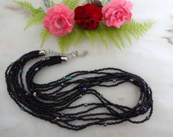 Vintage Seed Bead Necklace, Black Bead Necklace, Multi-strand Necklace, Glass Bead Necklace, Black Necklace, Black Glass Bead Necklace
