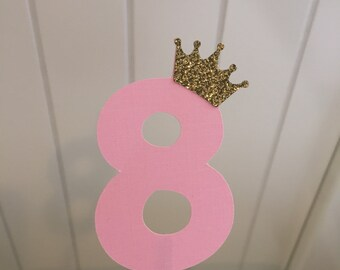 Pink # 8 with gold crowns cupcake toppers- set of 12
