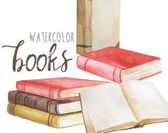 Watercolor Book Clip Art, Vintage Book Clipart, Novel Illustrations, Old Book Clipart, Storybook