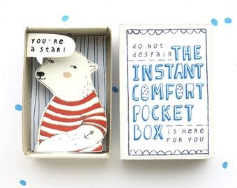 Ijsbeer - The Instant Comfort Pocket Box - je bent een ster! -bericht in een doos - juichen