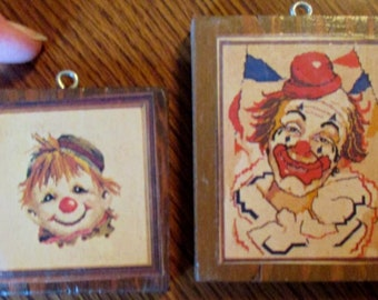 Small clown pictures 2 wooden decoupage hanging art Vintage child's room decor collectible miniature prints